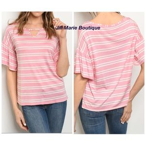 Short sleeve ruffle sleeve striped top S, M or L